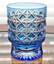 Faberge Na Zdorovye Dof Rocks Whiskey Glass, Lt Blue Cased Crystal
