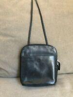 Fossil Women's Handbag Purse Vtg Black Leather Zip Around Organizer Crossbody