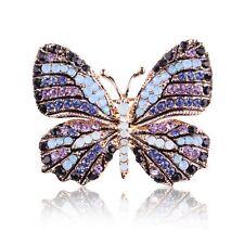 Collar Wedding Bridal Women Crystal Butterfly Brooch Pin Rhinestone