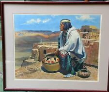 Acoma Man With Pottery Robert W. Amick Vintage realism Indian Print