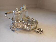 Antique Novelty Cart ,   Silver Plate Condiment , Cruet Set     ref 1906