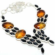 "Bi-Color Tourmaline, Black Onyx 925 Sterling Silver Jewelry Necklace 18"" AZ"