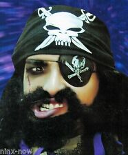Mean Pirate Bandana Wig Beard & Eyepatch Set Men's Fancy Dress Costume Accessory