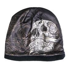 RIDE FOREVER Beanie Knit Cap Motorcycle Biker Hat Skull Roses Ski Snowboard NEW