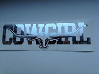 COWGIRL 580mm LONGHORN DECAL CHROME MIRROR SILVER Ute Truck Toyota RMW STICKER
