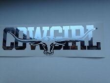 COWGIRL 1000mm LONGHORN DECAL CHROME MIRROR SILVER Ute Truck Toyota RMW STICKER