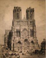 """Antique Original Etching Cathedrale De Reims, 31""""x25"""" DELAUNEY DEL SCULP Framed"""