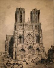 "Antique Original Etching Cathedrale De Reims, 31"" x 25"" DELAUNEY DEL SCULP"