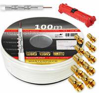 Sat Kabel 100m 135dB Klasse A+ Koaxialkabel Antennen Kabel HD + Abisolierer