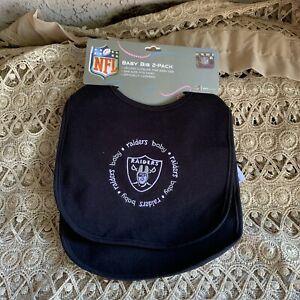 Oakland Raiders Baby Bib Set, 2 Pack Bibs Officially Licensed NFL Infant
