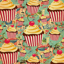 Circus Cupcakes 8x8 Fabric Block - Great 4 quilting, Pillows & Embroidery!