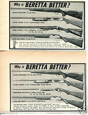 1957 small Print Ad of Beretta Silver Gyrfalcon Silver Pigeon 2 Different Ads