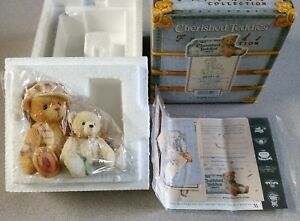 "Enesco Cherished Teddies ""Bailey & Friend"" Teddie w/Small Bear w/Bells Figurine"