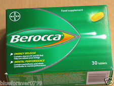 BEROCCA FILM COATED FOOD SUPPLEMENT 30 TABLETS  NEW/BOXED EXPIRY 2019