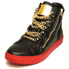 Fiesso Black/Red High Top Leather Gold Zipper/Chains Sneakers Size 12
