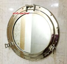 "20"" Nickel Plated Canal Boat Porthole-Window Ship Round Mirror Wall Decor"