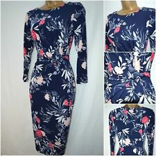 NEW DEBENHAMS TEA DRESS NAVY BLUE RED PINK FLORAL RETRO OCCASION SIZE 8 - 20