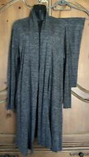 Eileen Fisher Gray Organic Linen 2-Piece Outfit Open Front Duster M Crop Pants S