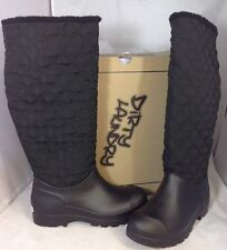 NEW DIRTY LAUNDRY Black Long Quilted Warm Winter Boots Size 7 Rubber Rain Shoes