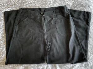 Ladies M & S Black Linen Trousers - 16S