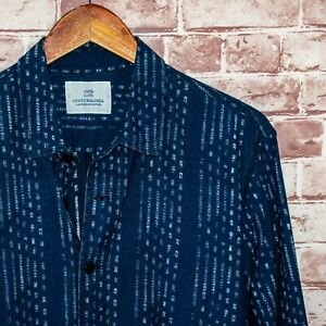 Scotch & Soda Men's Frayed Button up Shirt Indigo Blue Size Large