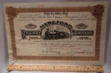 C1925 Hereford Railway RR Company Stock Certificate Sherbrooke, P.Q., Canada