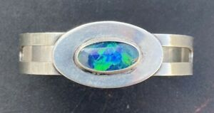 Silver Linin Torie Sterling Silver Cuff Bracelet with Opal - Small