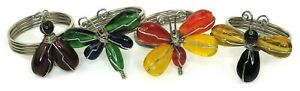 Napkin Rings Silver Metal Bands with Glass Ornaments Dragonfly, Lady Set of Four