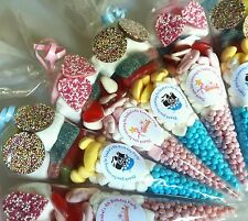 Pre filled princess and pirate sweet cones party bags birthday PERSONALISED