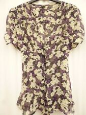 12 Topshop top blouse purple cream black floral chiffon casual gypsy feminine