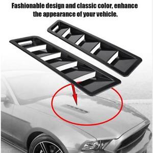 2p ABS Black Car Air Flow Intake Hood Scoop Vent Louver Panel Bonnet Cover Decor