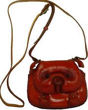 Real Leather Cross Body Mini Shoulder Bag, Pig Face Cover, Zipper Closure, Cute.