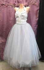 50s Ice Blue Lurex & Blue Netting overBeige w/ Sequins Prom Party Dress sz S
