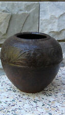 ANTIQUE 18C CHINESE CAST IRON VASE,JAR WITH A FLORAL RELIEF BORDER