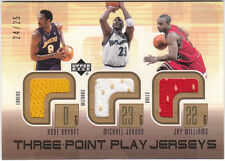 Michael Jordan, Kobe Bryant, J Williams 2002 03 UD Three Point Play Jersey 24/25