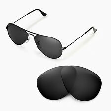 Walleva Polarized Black Lenses For Ray-Ban Aviator Large Metal RB3025 55mm