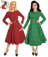 HEARTS and ROSES HIGHLAND DRESS 50s style TARTAN check GREEN RED Hogmanay