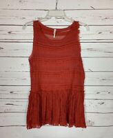 Free People Women's XS Extra Small Rust Lace Sleeveless Spring Summer Top Blouse