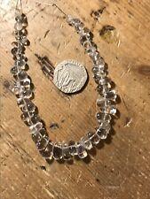 Pretty Crystal Quartz Drop Graduated Gemstone Beads 20cm String