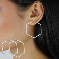 Simple Geometric Hoop Earrings Fashion Statement Hexagon Surgical Steel Women