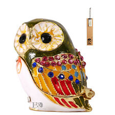 Handmade Green Owl Jewellery Enamel Metal Trinket Boxes Figurines Collects Gifts