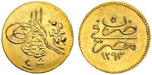 EGYPT - OTTOMAN , GOLD 5 PIASTRES  ABDUL HAMID II 1293/5 AH NGC MS 65+ , RARE