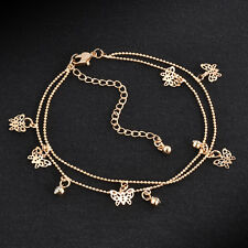 Womens Gold Butterfly Ankle Chain Anklet Bracelet Foot Jewelry Sandal Beach