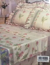 SINGLE BED SHEET SET POPPY FRILLED POLYCOTTON GREEN BLUE VINTAGE OFF CREAM