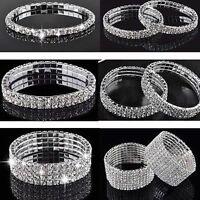 Crystal Rhinestone Stretch Bracelet Wristband Elastic Wedding Bridal Bangle Gift