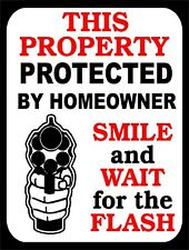 Smile And Wait For THe Flash Protected Gun Retro Vintage Funny Metal Sign 9x12