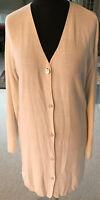 C. F. CARLA FASINI Long-Strickjacke Damen Gr. 42/44 weiß sehr angenehm zu tragen