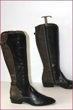 ACCATINO Bottes Tout Cuir Bicolore Semi Pointues T 37 BE