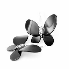 Moliabal Milano Click Clack Snap Pin-  Black Butterfly   Rhinestone Accent