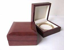 Luxury WOOD BANGLE BOX Dark Teak Bracelet Jewellery Gift Display Box-Very Classy